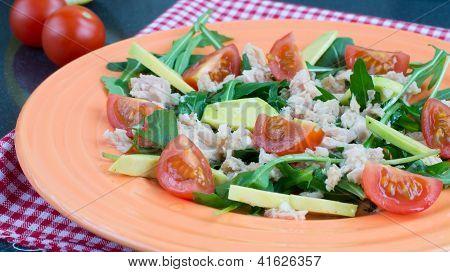 Salad With Cheryy Tomatoes, Tuna And Avocado
