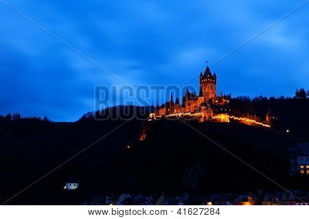 Old Castle In Cochem In Dusk