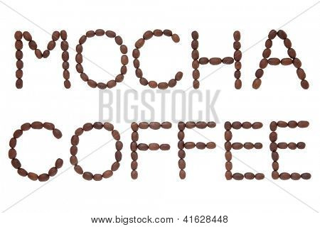 Mocha coffee bean design in word letter form over white background.