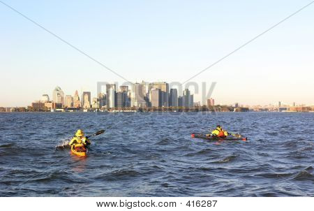 Kayakers Approach Manhattan