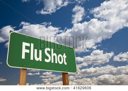 Flu Shot Green Road Sign Over Clouds and Sky.