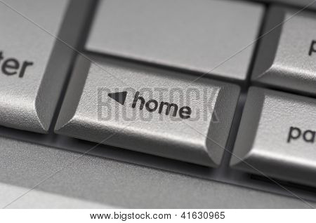 Closeup of home shortcut key on computer keyboard