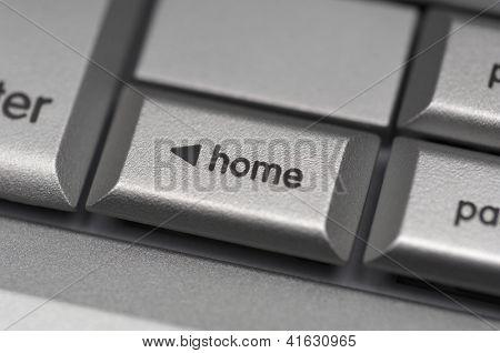 Closeup of home shortcut key on computer keyboard