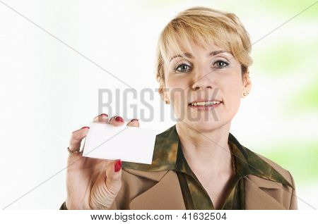 Portrait Of Business Woman Giving Blank Business Card