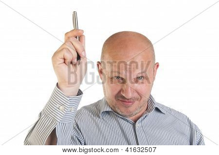 Businessman Showing Pointing Up.
