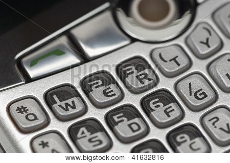 Closeup of push buttons mobile phone keypad