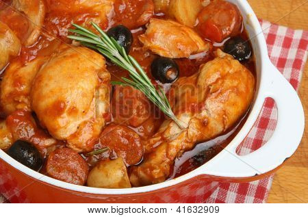 Spanish chicken stew with chorizo, olives and new potatoes.