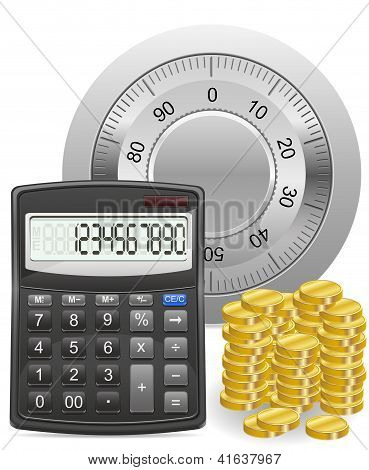 Calculator Safe And Gold Coins Concept Vector Illustration
