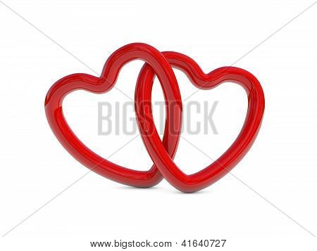 Intertwined Red Heart Rings
