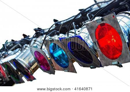 Stage lights on white isolated background