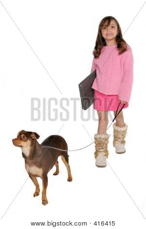 Girl Take's Dog For A Walk Carrying Her Laptop Copy