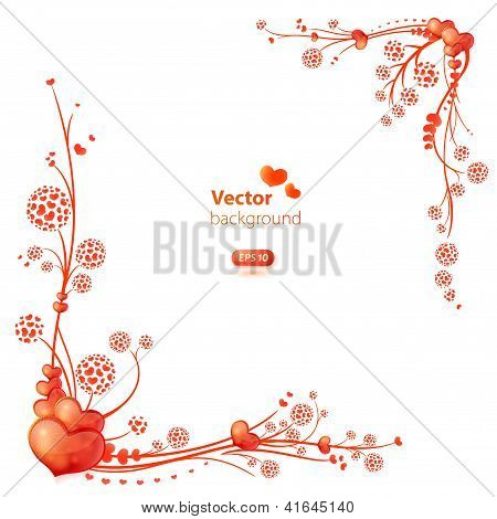 Vector Frame With Floral Decorative Ornament And Glossy Hearts.