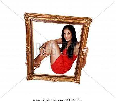 Teen Girl Sitting Behind Frame.