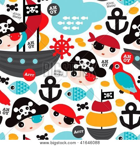 Seamless retro pirates illustration sailing the ocean background pattern in vector