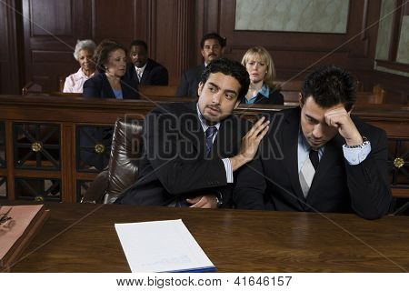 Advocate consoling upset client