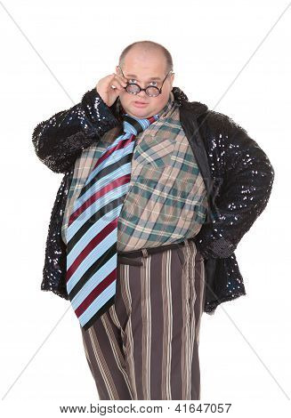 Obese Man With An Outrageous Fashion Sense
