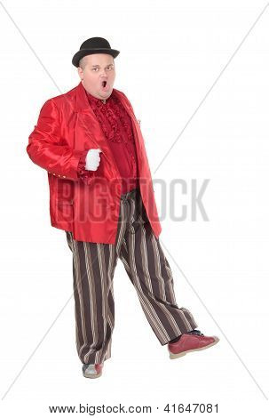 Obese Man In A Red Costume And Bowler Hat