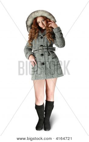 Woman In Gray Coat And Black High Shoes
