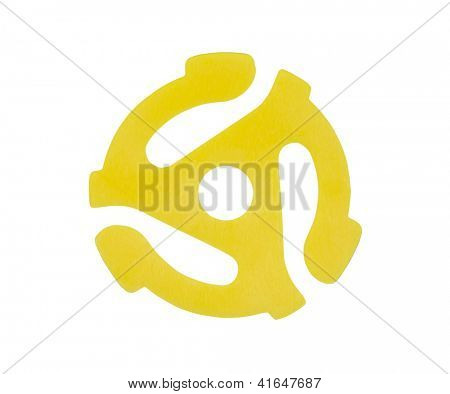 Iconic yellow plastic adapter for playing 45 r.p.m. vinyl singles on 33 r.p.m. record players.