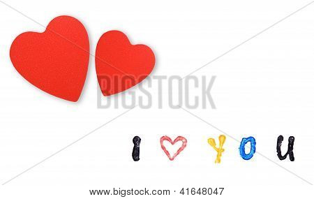 Card With Hearts  And Message
