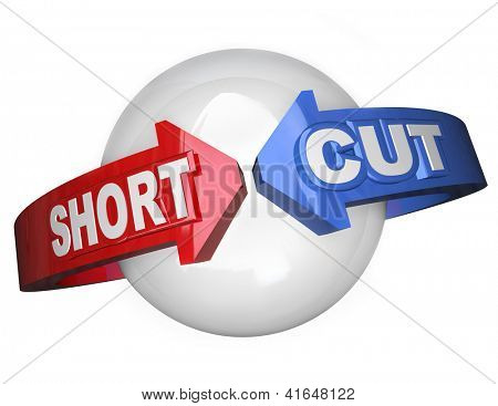 The words Short Cut on arrows going around a sphere to symbolize an easy route and shortest direction to succeed at a goal or mission