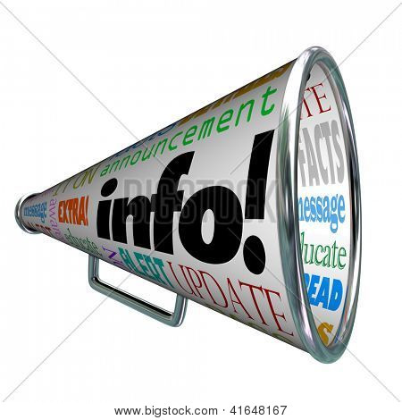 A megaphone or bullhorn featuring the word Info and many other words related to communication such as update, alert, message, news, facts and more