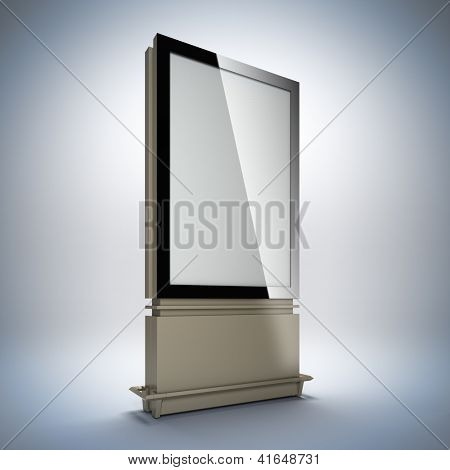 Blank vertical billboard. 3D illustration of blank template layout empty metal billboard with black frame.