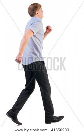 back view of running business man . walking businessman in motion. Rear view people collection.  backside view of person. Isolated over white background.