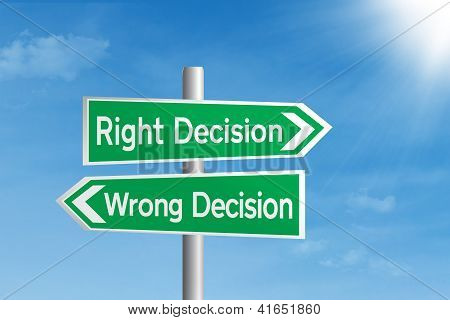 Right Decision Vs Wrong Decision