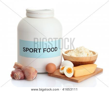 jar of protein powder and food with protein, isolated on white