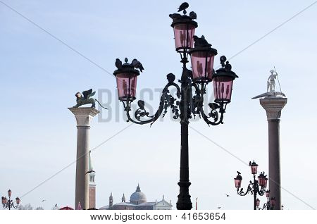 Lion And St. Theodore On Columns, Venice