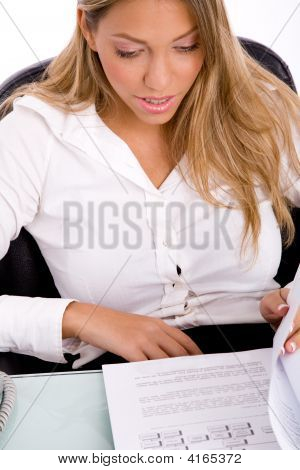 Top View Of Businesswoman Looking Document