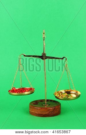 Classic scales with color pills on color background