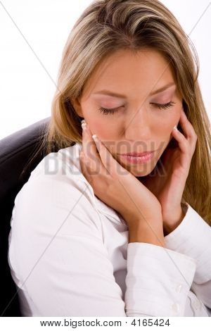 Portrait Of Businesswoman With Closed Eyes