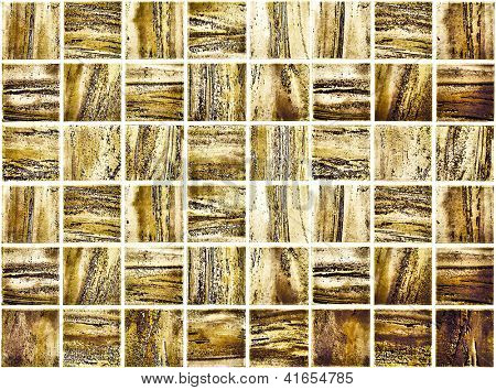 Background of Golden Mosaic Texture, spacious vintage room with stone and glass tiled grungy wall