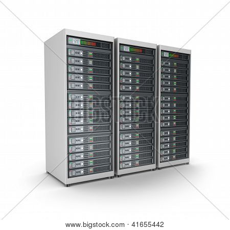 Server grid or render farm. Isolated on white