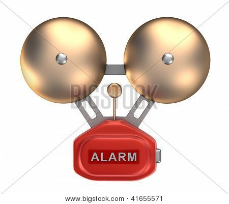 Alarm bell ringer. Isolated on white