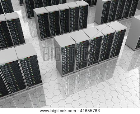 Datacenter: server room with server clusters