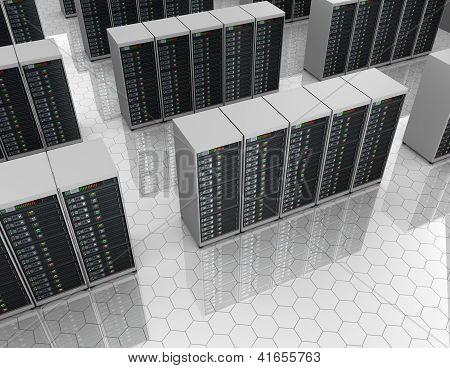 Datacenter: server room with server clusters