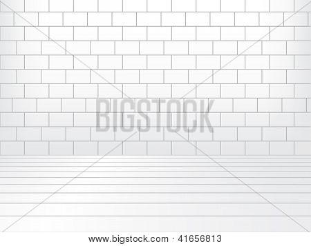 Sala blanca con pared de ladrillo y piso de madera