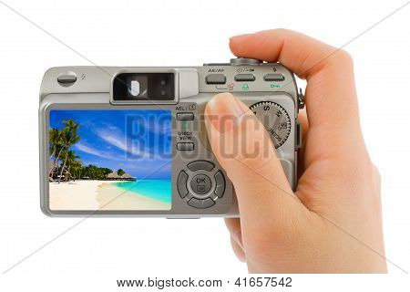 Hand With Camera And Landscape (my Photo)