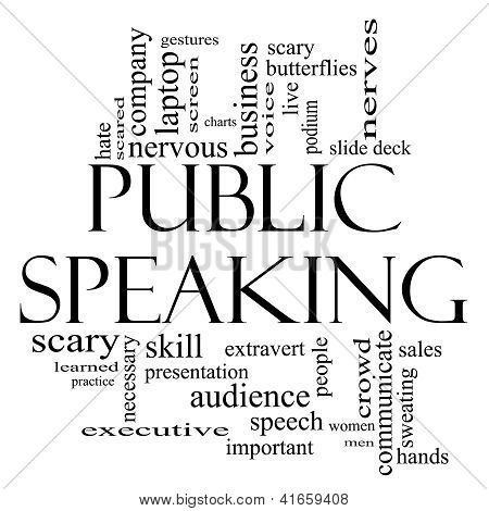 Public Speaking Word Cloud Concept In Black And White
