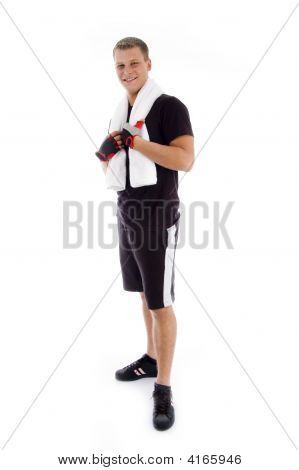 Standing Adult Male Holding Towel