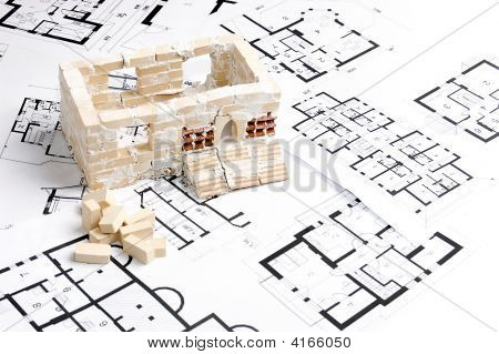House Over Blueprint