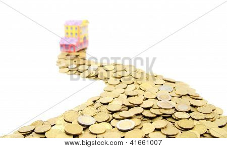 Coin Money Road To House Isolated On White Background