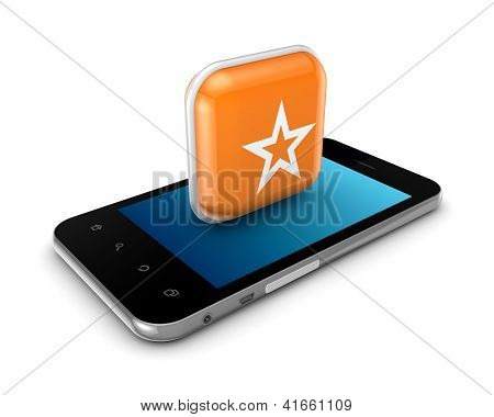 Modern mobile phone and icon of star.