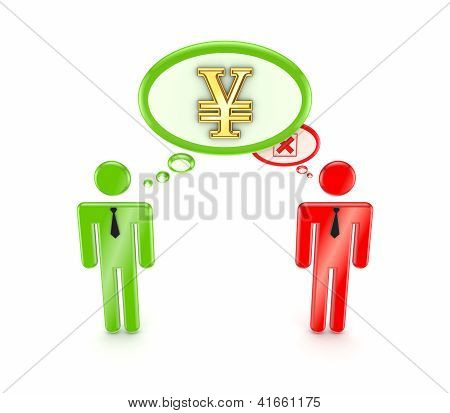 3d small people, yen symbol and cross mark.