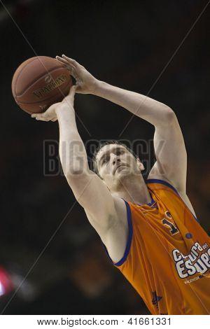 VALENCIA - JANUARY 29: #12 Serhiy Lischchuk during Bakestball match between Valencia Basket Club and Uxue Bilbao, on January 29, 2013, in La Fonteta Stadium, Valencia, Spain