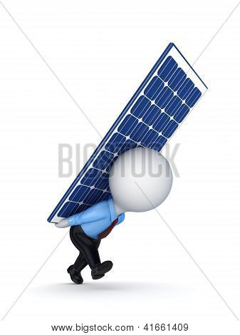3d small person with a solar battery on the back.