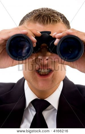Smart Young Lawyer Angry While Looking Through Binoculars
